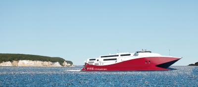 Kristiansand, Norway - 30.06.2018: Fast catamaran HSC Fjord Cat from Hirtshals to Kristiansand, Norway